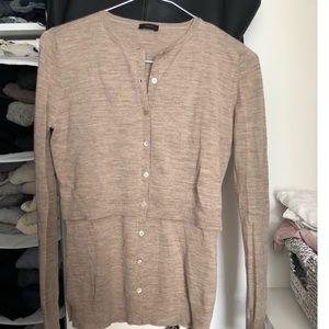 Marino wool Joseph cardigan in taupe colour